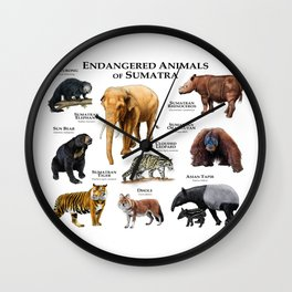 Endangered Animals of Sumatra Wall Clock
