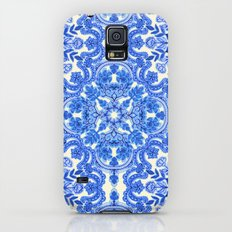 Cobalt Blue & China White Folk Art Pattern Slim Case Galaxy S5