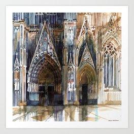 Koln cathedral's facade Art Print