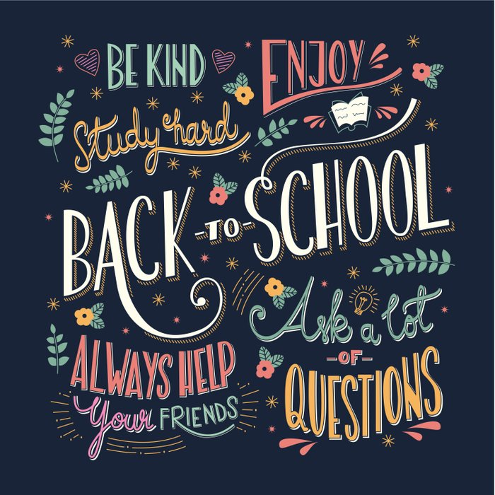 Back to school colorful typography drawing on blackboard with motivational messages, hand lettering Comforters