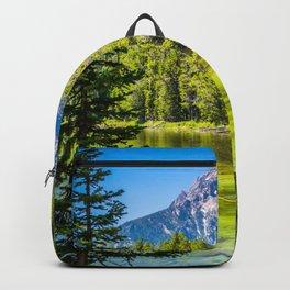 Alpine Lake Framed Grand Teton National Park Print Backpack