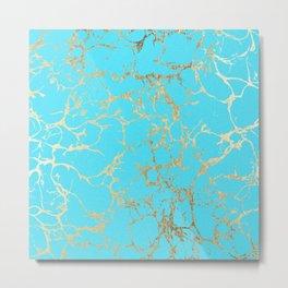 Modern aqua elegant faux gold foil marble pattern Metal Print