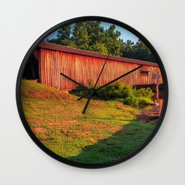 Sun Shining on Watson Mill Bridge Wall Clock