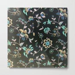 Classic vintage teal pink green bohemian floral Metal Print