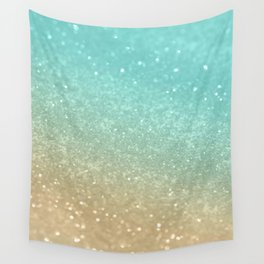 Sparkling Gold Aqua Teal Glitter Glam #1 #shiny #decor #society6 Wall Tapestry