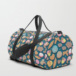 Mexican Sweet Bakery Frenzy // turquoise background // pastel colors pan dulce Duffle Bag