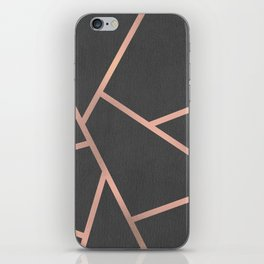 Dark Grey and Rose Gold Textured Fragments - Geometric Design iPhone Skin
