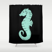 sea horse Shower Curtains featuring SEA HORSE by Matthew Taylor Wilson