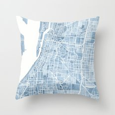 Memphis Tennessee blueprint watercolor map Throw Pillow