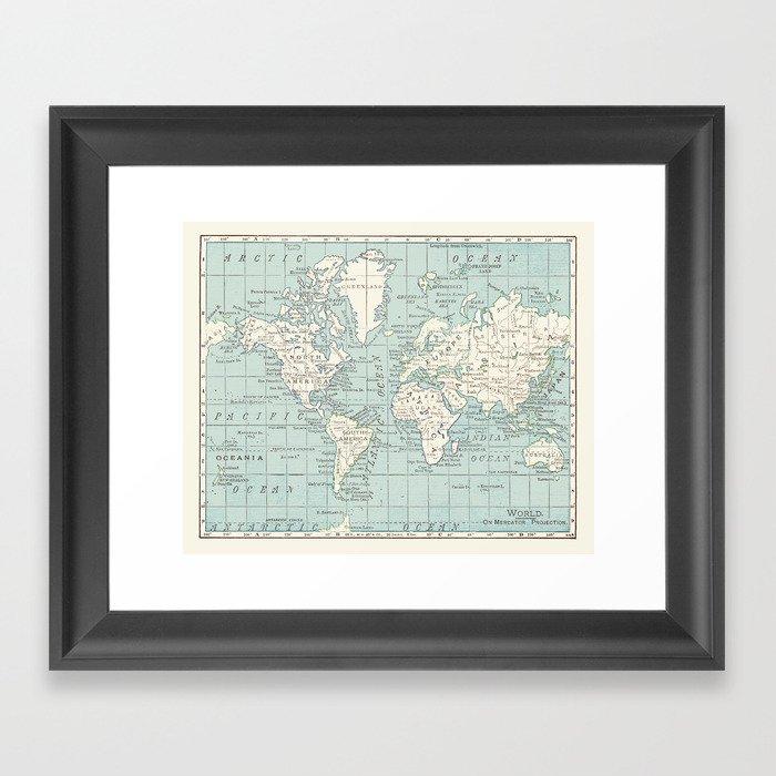 World Map in Blue and Cream Gerahmter Kunstdruck