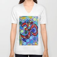 om V-neck T-shirts featuring OM by Art By Carob