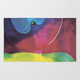 Blue yellow green abstract Rug