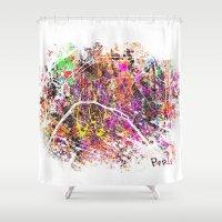 paris map Shower Curtains featuring Paris by Nicksman