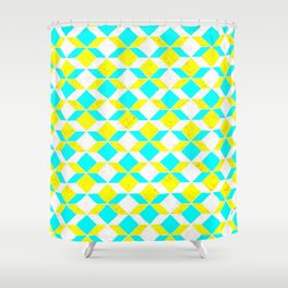 Turquoise & Yellow Diamonds Inverted Shower Curtain