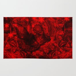 Butterfly and fractal in black and blood red Rug