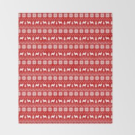 Norwegian Elkhound Silhouettes Christmas Sweater Pattern Throw Blanket