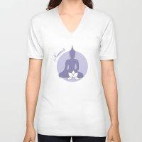 namaste V-neck T-shirts featuring Namaste by AllisStudio