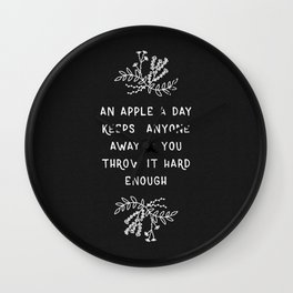 An Apple A Day BW Wall Clock