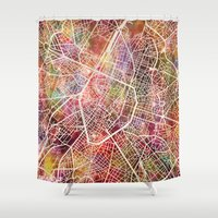 brussels Shower Curtains featuring Brussels by MapMapMaps.Watercolors
