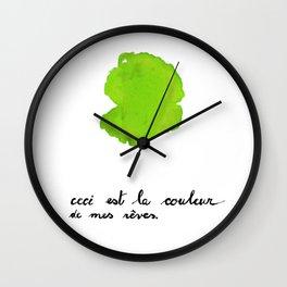 Ceci est la couleur de mes reves (lime green) Wall Clock