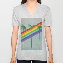Rainbow Palm trees Unisex V-Neck