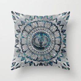 Egyptian Scarab Beetle Silver and Abalone Throw Pillow