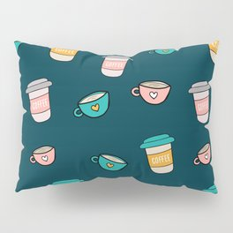 Happy coffee cups and mugs in dark-blue background Pillow Sham