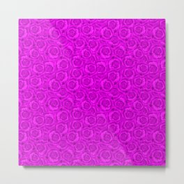 Neon floral pattern . Bright pink roses. Metal Print