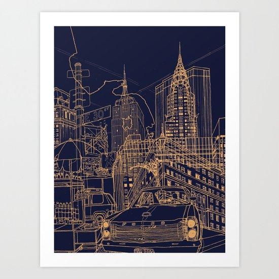 New York! Night Art Print