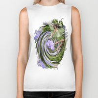 pixies Biker Tanks featuring Green Flower fairy by Just Kidding