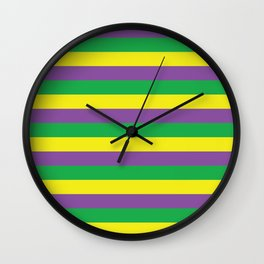 Purple Green and Gold Stripes #society6 Wall Clock