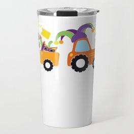 Tractor Jester Hat Mardi Gras Fleur De Lis Masks Travel Mug