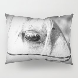 Horse's Eye: Black and White Photo Pillow Sham