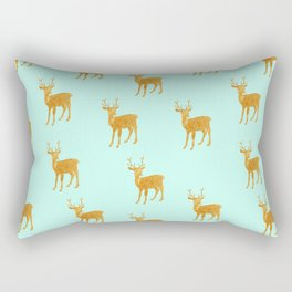 Deer. Mint and gold Rectangular Pillow