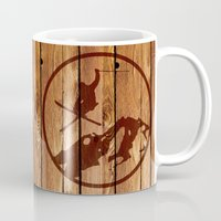 skiing Mugs featuring skiing 3 by Paul Simms