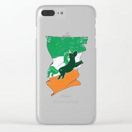 Distressed Irish Flag Unicorn St Patricks Clear iPhone Case