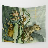 jojo Wall Tapestries featuring Woman With Tiger and Chair by JoJo Seames