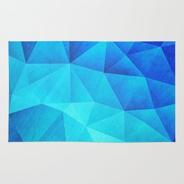 Abstract Polygon Multi Color Cubizm Painting in ice blue Rug