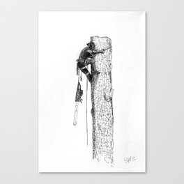 Tree surgeon Arborist using large stihl chainsaw Canvas Print