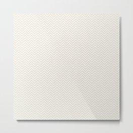 Elegant vintage ivory white pastel chevron zigzag Metal Print