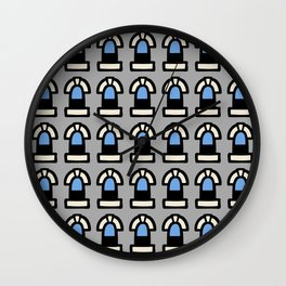 New York Windows Pattern 261 Gray and Blue Wall Clock