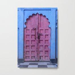 Pink Door In The Blue City, Jodhpur Metal Print
