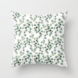 Watercolor eucalyptus silver dollar Throw Pillow