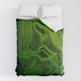 Green glowing circuit - by Brian Vegas Comforters