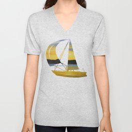 Sunset At Stavanger - Norway / Watercolor Painting Unisex V-Neck