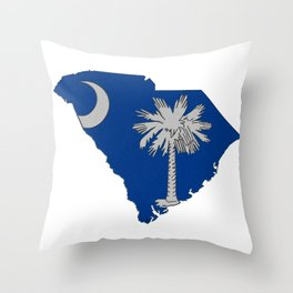 South Carolina Map with State Flag Throw Pillow