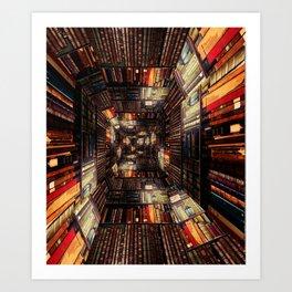 Bookshelf Books Library Bookworm Reading Pattern Art Print