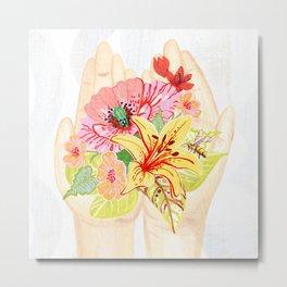 Flowers in my hand Metal Print