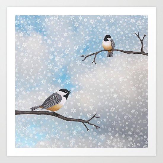 chickadees in snow Art Print
