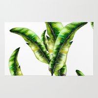 banana leaf Area & Throw Rugs featuring Banana Leaf -watercolor  by craftberrybush